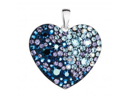Stříbrný přívěsek s krystaly Swarovski modré srdce 34243.3 blue style