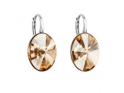Stříbrné náušnice visací s krystaly Swarovski zlatý ovál 31275.5