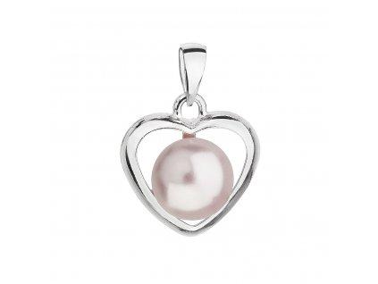 Stříbrný přívěsek s růžovou Swarovski perlou srdce 34246.3