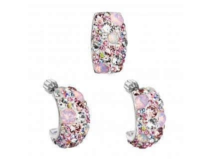 Sada šperků s krystaly Swarovski náušnice a přívěsek růžový obdélník 39116.3
