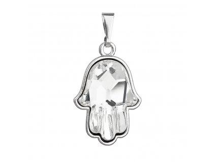 Stříbrný přívěsek s krystaly Swarovski bílá ruka Fatima 74037.1