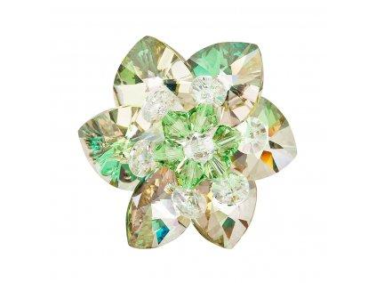 Brož bižuterie se Swarovski krystaly zelená kytička 78002.5