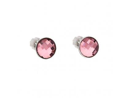 Stříbrné náušnice pecka s krystaly Swarovski růžové kulaté 31137.3