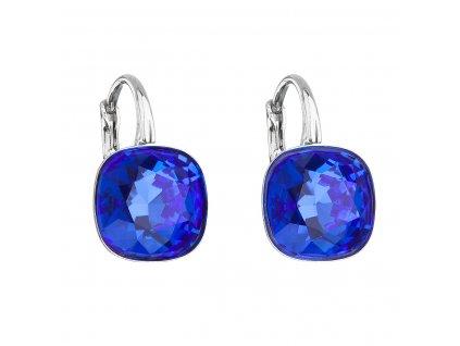 Stříbrné náušnice visací s krystaly Swarovski modrý čtverec 31241.3