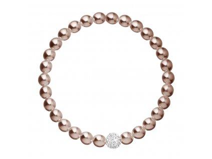 Perlový náramek hnědý s krystaly Swarovski 33115.3