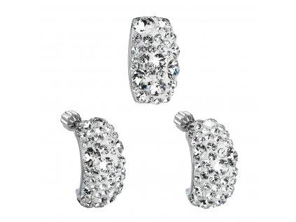 Sada šperků s krystaly Swarovski náušnice a přívěsek bílý obdélník 39116.1