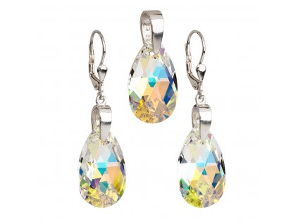 Sada šperků s krystaly Swarovski náušnice a přívěsek AB efekt slza 39049.2