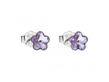 Stříbrné náušnice pecka s krystaly Swarovski fialová kytička 31080.3