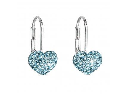 Stříbrné náušnice visací s krystaly Swarovski modré srdce 31125.3
