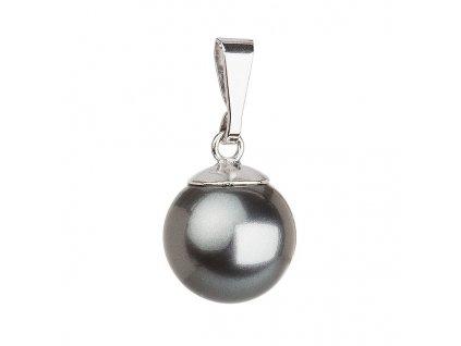Stříbrný přívěsek s šedou kulatou perlou 734150.3