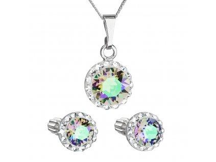 Sada šperků s krystaly Swarovski náušnice,řetízek a přívěsek zelené fialové kulaté 39352.5 paradise shine