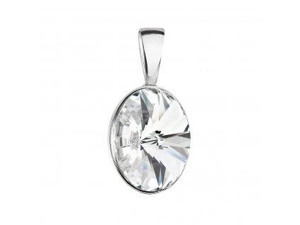 Stříbrný přívěsek s krystalem Swarovski bílý ovál 34245.1