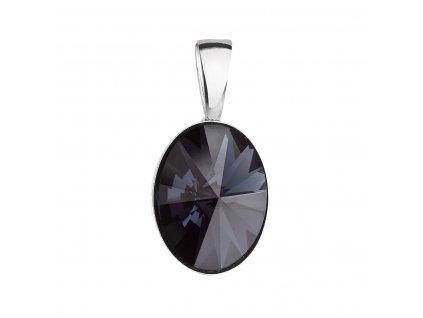 Stříbrný přívěsek s krystalem Swarovski černý ovál 34245.3