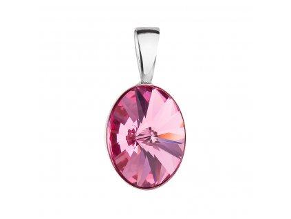 Stříbrný přívěsek s krystalem Swarovski růžový ovál 34245.3