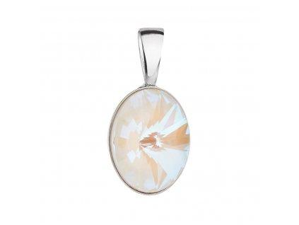 Stříbrný přívěsek s krystalem Swarovski bílý ovál 34245.4 light grey delite