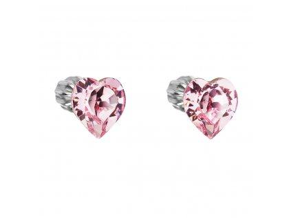 Stříbrné náušnice pecka s krystaly Swarovski růžové srdce 31139.3