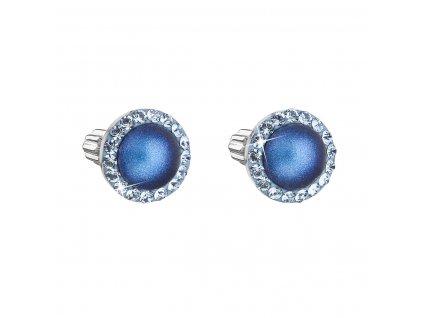 Stříbrné náušnice pecka s krystaly Swarovski a tmavěmodrou matnou perlou kulaté 31314.3