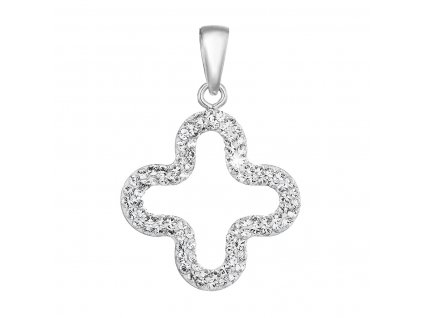 Stříbrný přívěsek s krystaly Swarovski v bílé barvě 74071.1