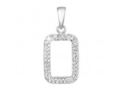Stříbrný přívěsek s krystaly Swarovski bílý obdélník 74072.1