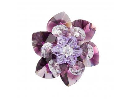 Brož bižuterie se Swarovski krystaly fialová kytička 78001.3 amethyst