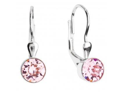 Stříbrné náušnice visací s krystaly růžové kulaté 31112.3 light rose
