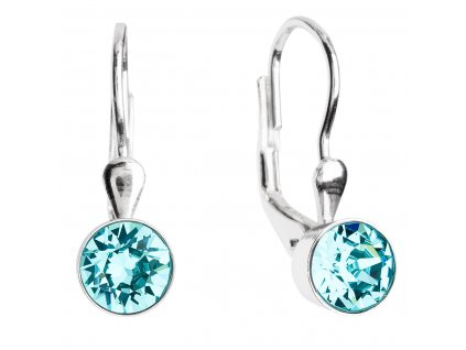 Stříbrné náušnice visací s krystaly modré kulaté 31112.3 light turquoise