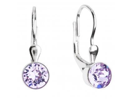 Stříbrné náušnice visací s krystaly fialové kulaté 31112.3 violet