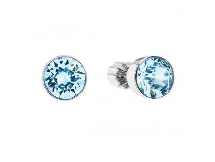 Stříbrné náušnice pecka se Swarovski krystaly modré kulaté 31113.3 aqua