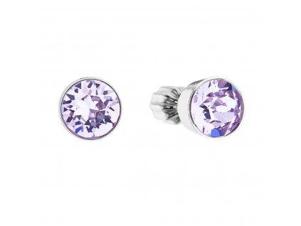 Stříbrné náušnice pecka se Swarovski krystaly fialové kulaté 31113.3 violet