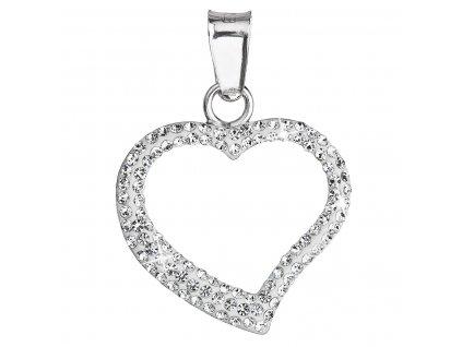 Stříbrný přívěsek s krystaly Swarovski bílé srdce 34093.1