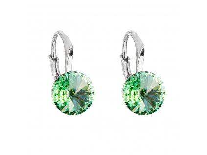 Stříbrné náušnice visací s krystaly Swarovski zelené kulaté 31229.3 chrysolite
