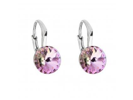 Stříbrné náušnice visací s krystaly Swarovski fialové kulaté 31229.5 vitrail light
