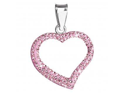 Stříbrný přívěsek s krystaly Swarovski růžové srdce 34093.3