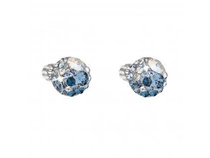 Stříbrné náušnice pecka s krystaly Swarovski modré kulaté 31336.3 ice blue