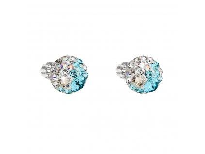 Stříbrné náušnice pecka s krystaly Swarovski modré kulaté 31336.3 light turquoise