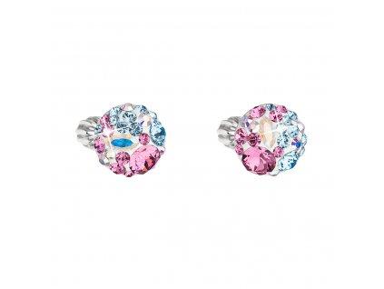 Stříbrné náušnice pecka s krystaly Swarovski mix barev kulaté 31336.3 water lilly