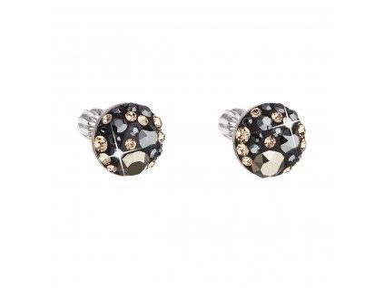 Stříbrné náušnice pecka s krystaly Swarovski mix barev kulaté 31336.4 colorado