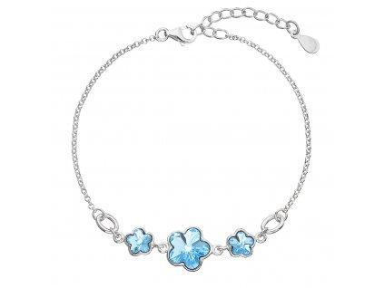 Stříbrný náramek se Swarovski krystaly modrá kytička 33112.3