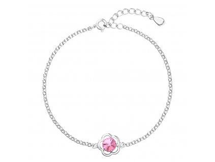 Stříbrný náramek se Swarovski krystaly růžová kytička 33117.3