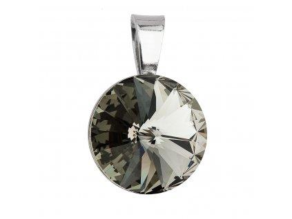 Stříbrný přívěsek s krystaly Swarovski šedý kulatý-rivoli 34112.3
