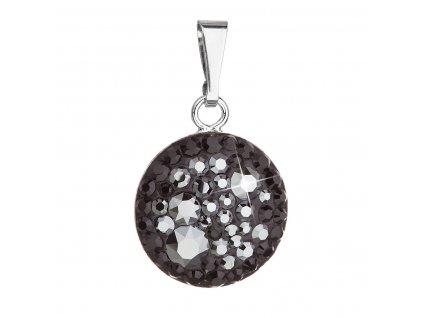 Stříbrný přívěsek s krystaly Swarovski černý kulatý 34225.5 hematite