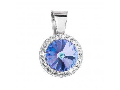 Stříbrný přívěsek s krystaly Swarovski fialový kulatý 34251.5