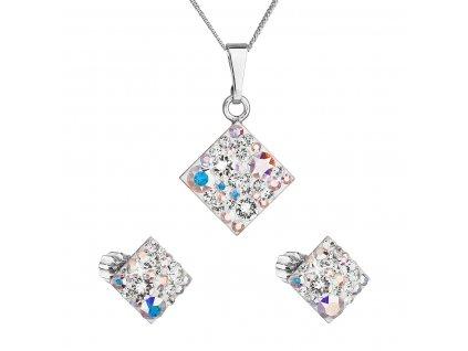Sada šperků s krystaly Swarovski náušnice, řetízek a přívěsek ab efekt kosočtverec 39126.2