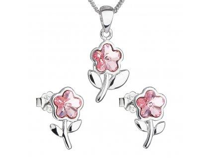 Sada šperků s krystaly Swarovski náušnice,řetízek a přívěsek růžová kytička 39172.3 light rose