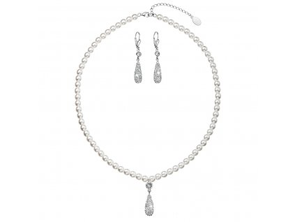 Sada šperků se syntetickými perlami a krystaly Swarovski náušnice a přívěsek bílá slza 39121.1