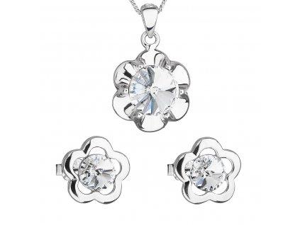 Sada šperků s krystaly Swarovski náušnice,řetízek a přívěsek bílá kytička 39173.1
