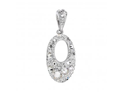 Stříbrný oválný přívěsek s bílými Swarovski krystaly 74089.1
