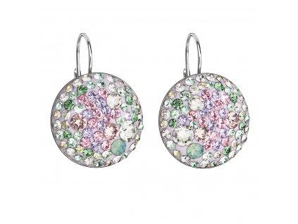 Stříbrné náušnice visací s krystaly Swarovski mix barev kulaté 31161.3 sakura
