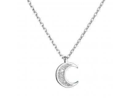 Stříbrný náhrdelník se zirkony bílý půlměsíc malý 12046.1