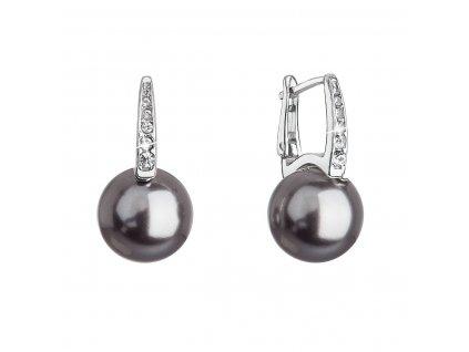 Stříbrné náušnice visací se Swarovski perlou a krystaly 31301.3 šedé